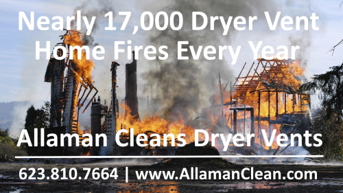 dryer vent fire Arizona clothes dryer vent cleaning Surprise Litchfield Park Goodyear Avondale Buckeye Peoria Sun City Glendale AZ