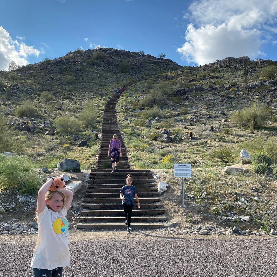 Allaman Family hiking at the Victory Steps at Verrado in Buckeye Arizona
