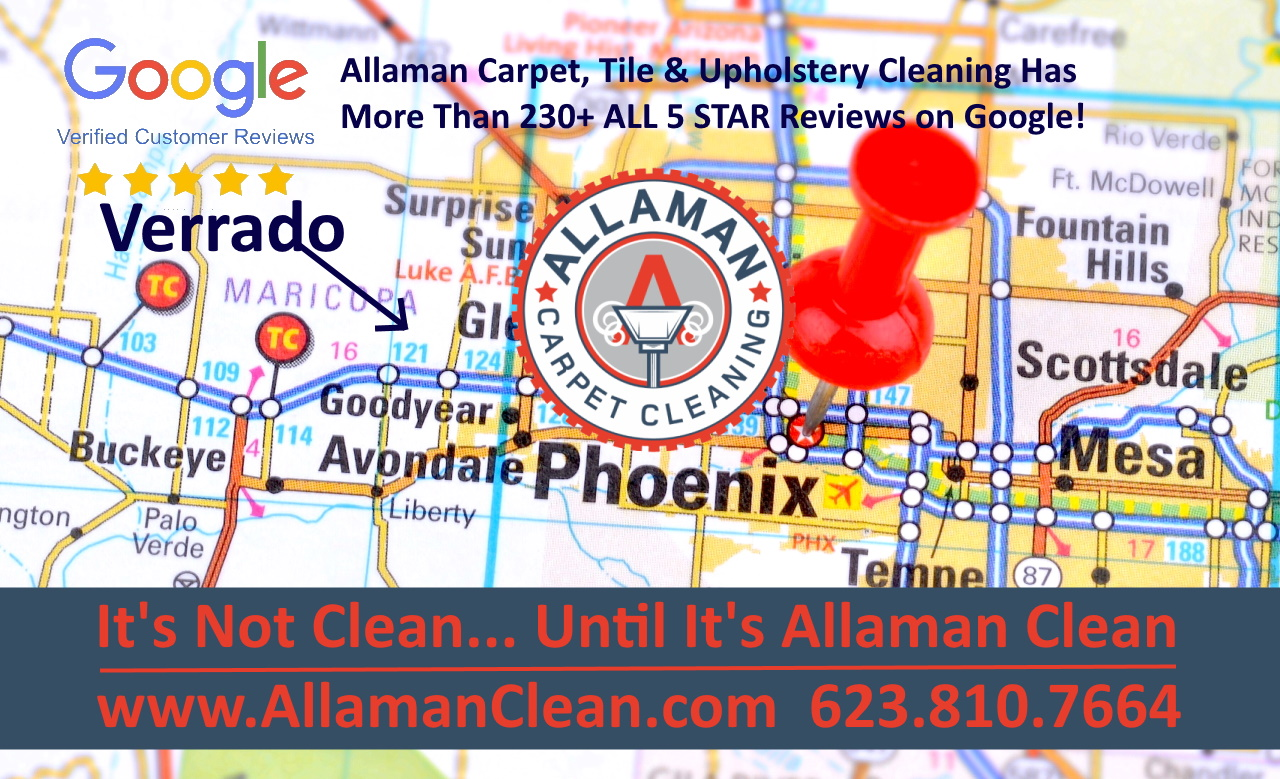 Carpet, tile and grout cleaning in Litchfield Park and Verrado Buckeye Arizona by Allaman Clean