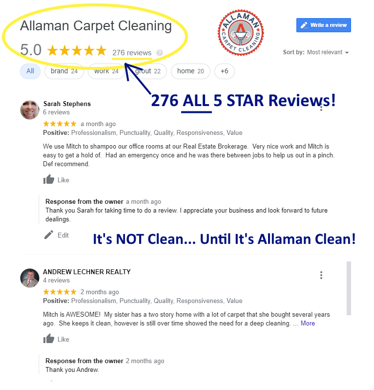 Allaman carpet tile grout and upholstery cleaning reviews on google